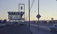 Marquee listing Reynolds' world premiere at the Riviera Hotel, Las Vegas, December 1962