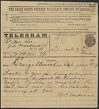 Telegram to Prime Minister John A. Macdonald announcing the completion of the Canadian Pacific Railway, 7 November 1885.