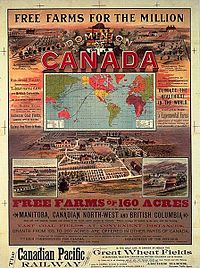 """CPR advertisement highlighting """"Free Farms for the Million"""" in western Canada, circa 1893."""