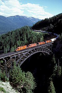 An eastbound CPR freight train at Stoney Creek Bridge descending from Rogers Pass