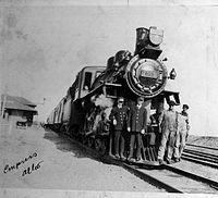 C.P.R. locomotive and employees