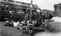 Indians at CPR station in Vancouver, c.1914