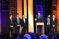 Sam Esmail, Rami Malek, and others accepting the 2016 Peabody Award for Mr. Robot