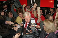 Bob Rae speaking to the press on Day 1 of the Liberal Leadership Convention in Montreal
