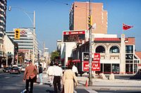 Retail stores along Yonge Street in Toronto, circa 1990, at a time when the issue of Sunday shopping was being debated in Ontario