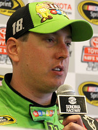 Kyle Busch (pictured in 2015), of the Joe Gibbs Racing team won the pole position.