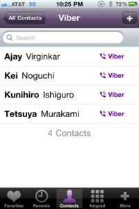 Viber 1.0 on iPhone