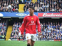 Ronaldo playing for Manchester United against Chelsea in the 2005–06 Premier League season