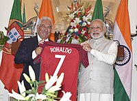 Portugal Prime Minister António Costa presents Indian Prime Minister Narendra Modi a signed Ronaldo jersey in January 2017