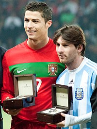 Ronaldo with Lionel Messi before an international friendly between Portugal and Argentina in 2011