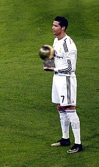 Cristiano Ronaldo, with his third Ballon d'Or, receives adulation from Real Madrid fans at the Santiago Bernabéu in January 2015
