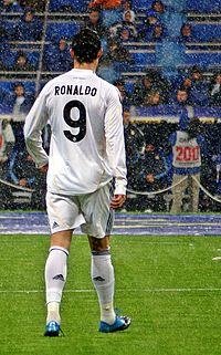 As his usual number 7 was unavailable, Ronaldo wore number 9 during his debut season at Madrid. After Raúl departed the club, Ronaldo was handed the number 7 shirt before the 2010–11 season.