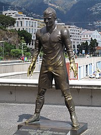 Statue of Ronaldo, in Madeira, resembles the pose he strikes before taking free kicks.