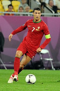 Ronaldo, pictured playing against Germany at Euro 2012, was made captain for Portugal in 2008.