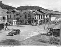 Bomb damage at the town of Jesselton during World War II, this was part of the Borneo Campaign by Allied forces during 1945.