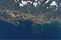 View of Kota Kinabalu captured from the International Space Station in 2002.