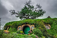 The house of Bilbo and Frodo Baggins in the Shire, as filmed in New Zealand