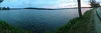 Panoramic view of Lake Quannapowitt from its eastern shore, looking westward — June 2016