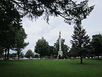 View of Wakefield's Upper Common, with Civil War memorial at center right.