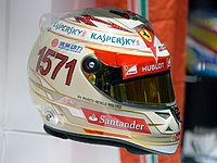 The racing helmet Alonso wore at the 2013 Indian Grand Prix to commemorate him scoring 1571 career points
