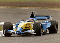 Alonso driving for Renault at the 2003 British Grand Prix