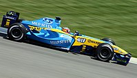 Alonso driving for Renault at the 2004 United States Grand Prix