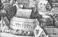 The second Globe theatre, built 1614.