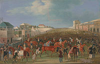 Epsom is famous for the Epsom Downs Racecourse which hosts the Epsom Derby; painting by James Pollard, c. 1835