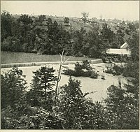 Another view of the Quarles Mill dam. White tents above are the Union General Headquarters