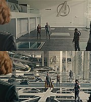 The original shot (top) of the new Avengers training facility and the completed shot (bottom) with CG interiors added by Method Studios