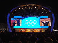Victory ceremony at Medals Plaza