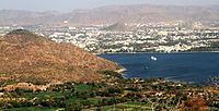 View of a Fateh Sagar Lake from a distance.