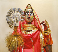 An idol of the deity decorated as per Rajput traditions