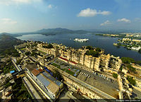 Aerial view of City Palace on Lake Pichola