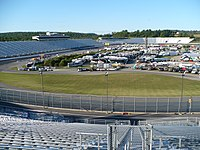 New Hampshire Motor Speedway's infield and front straightaway from turn two grandstands.