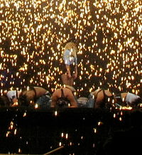 """Spears performing """"Womanizer"""" during The Circus Starring Britney Spears in 2009"""
