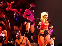 """Spears performing """"Circus"""" during The Circus Starring Britney Spears in 2009"""