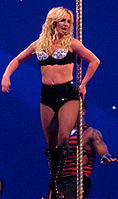 """Spears performing """"Radar"""" during The Circus Starring Britney Spears in 2009"""