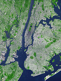 Satellite image showing the core of the New York metropolitan area. Over 10 million people live in the imaged area. Much of Hudson County is located on the peninsula at left.