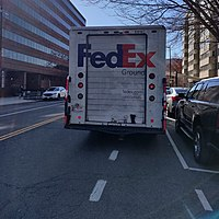 A FedEx delivery truck illegally parked in a bike lane in Washington, D.C., in January 2020