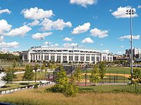 Heritage Field in 2012, with the new Yankee Stadium in background