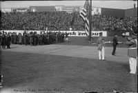 The raising of the American flag on Opening Day in 1923