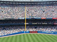 The left field corner at Yankee Stadium. Notice that the foul pole is only {{convert|318|ft|m}} away from home plate.