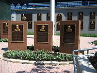 Monument Park featured monuments and plaques dedicated to Yankee greats.