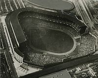 Aerial view of Yankee Stadium as it looked in its early years.