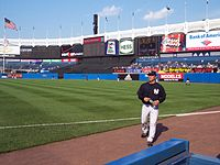 The outfield during batting practice
