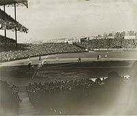 The Stadium during the 1927 season before the left field grandstand was extended.