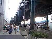 River Avenue, located behind the stadium and under the 4 (New York City Subway service) Train.