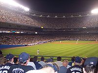 The stadium during a night game