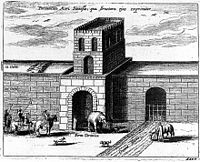 """""""A gate of the Wall of China, explaining its structure"""". An illustration from Athanasius Kircher's China Illustrata, 1667."""